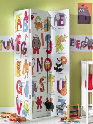 Animals ABC in room setting