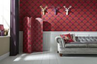 ARTHOUSE Fairburn Red Tartan Studded 3 Panel Screen