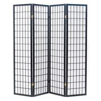 Shoji Black 4 Panel Room Divider or Screen