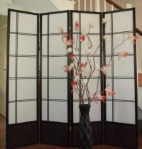 Fuji Black Oriental 4 Panel Room Divider or Screen