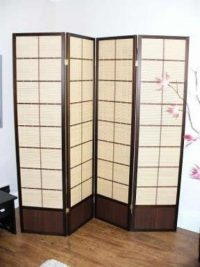 Matsu Walnut 4 Panel Room Divider or Screen