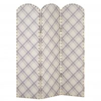 ARTHOUSE Fairburn Neutral Tartan Studded 3 Panel Screen